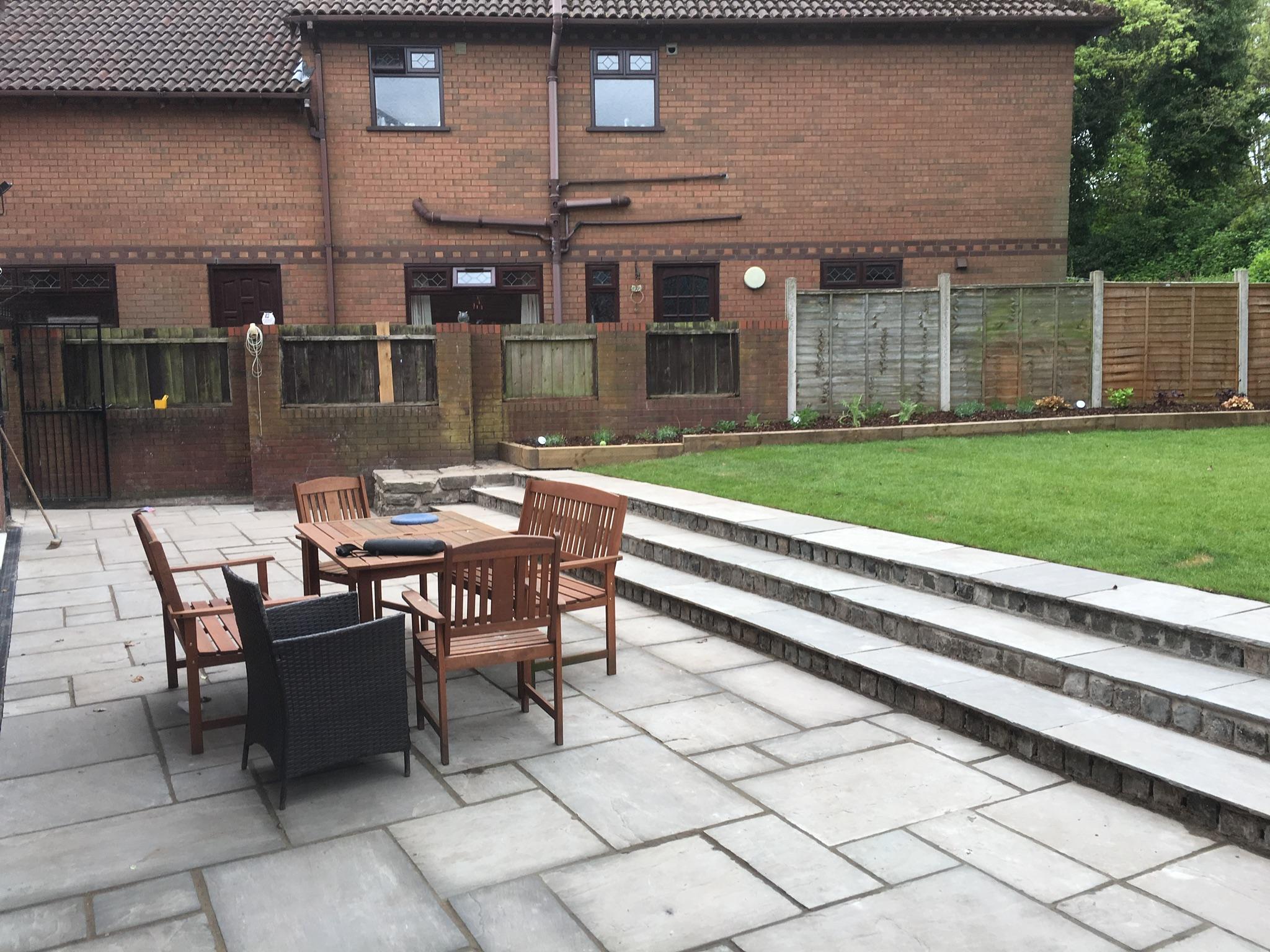 new patio area in garden